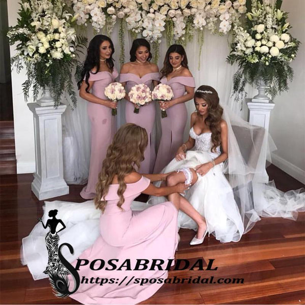 Cheap Formal Sexy Off the Shoulder White Pink Mermaid Long Bridesmaid Dresses with Slit ,WG333 - SposaBridal
