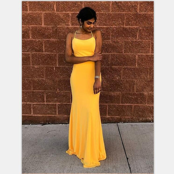 499834d9097a Cheap Mermaid Spaghetti Straps Lace-Up Floor-Length Yellow Prom Dresses,  PD0961