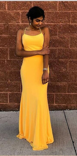 Cheap Mermaid Spaghetti Straps Lace-Up Floor-Length Yellow Prom Dresses, PD0961