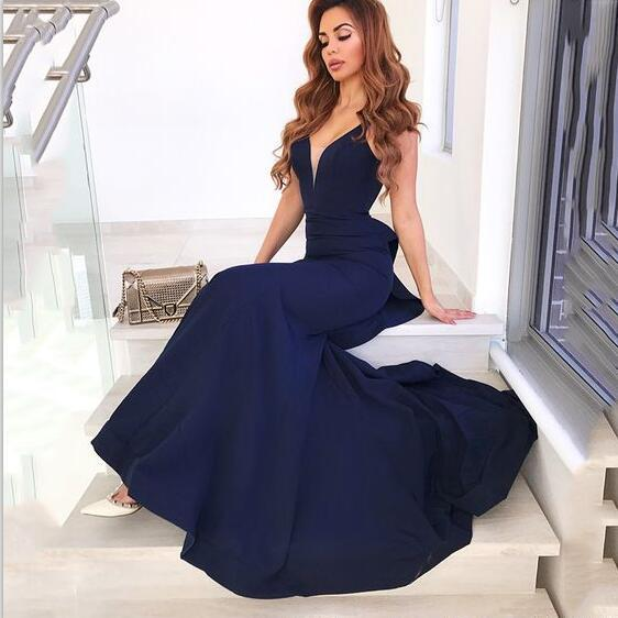 Cheap Mermaid V-Neck Backless Sweep Train Navy Blue Prom Dresses With Ruffles , PD0962