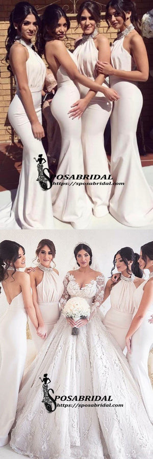 Cheap Modest Elegant Beaded High Neck Mermaid Backless Long Bridesmaid Dresses, Evening Dress , WG296 - SposaBridal