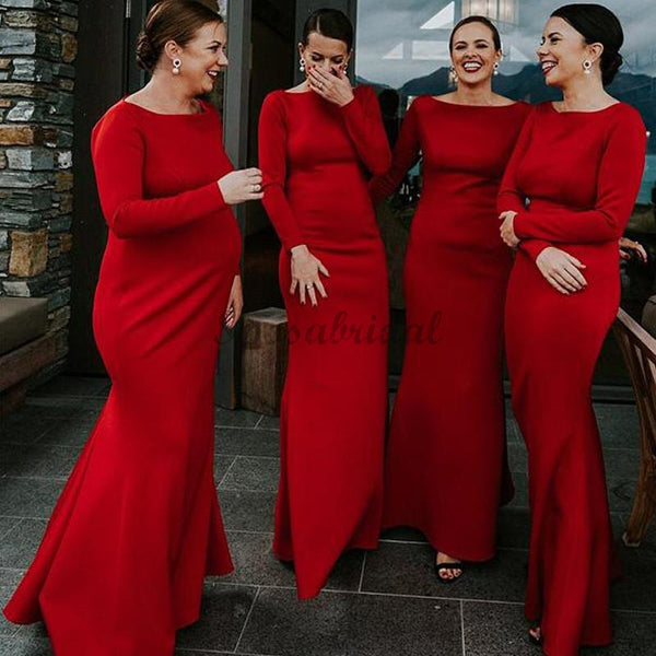Cheap Modest Mermaid Red Jersey Long Sleeve Sheath Long Bridesmaid Dresses WG586