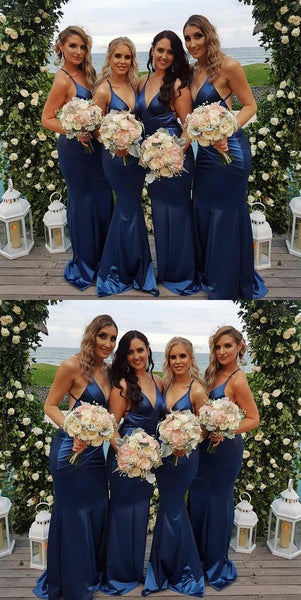 Cheap Modest  Unique Custom Soft Sexy Spaghetti Straps Long Dark Blue Bridesmaid Dresses , WG267 - SposaBridal