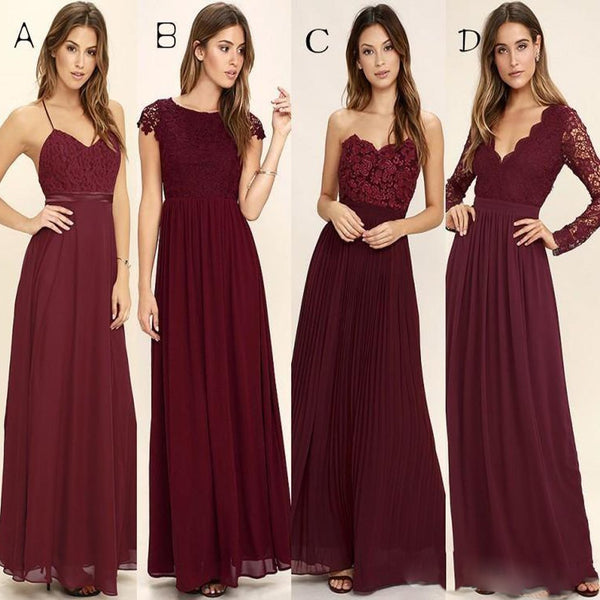 430188c0555 Cheap Chiffon Modest Sexy Unique Bridesmaid Dresses Mixed Style A Line Burgundy  Bridesmaid Dresses
