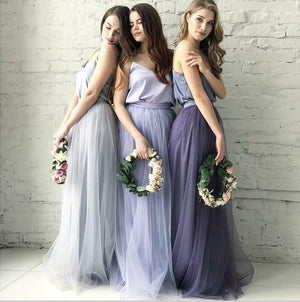 Cheap Two Piece Round Neck Long Light Blue Grey Silver Purple Lilac Tulle With Top Lace  Bridesmaid Dresses, WG270