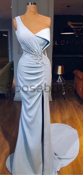 Cheap One Shoulder Blue Side Slit Unique Elegant Mermaid Formal Long Prom Dresses PD1795