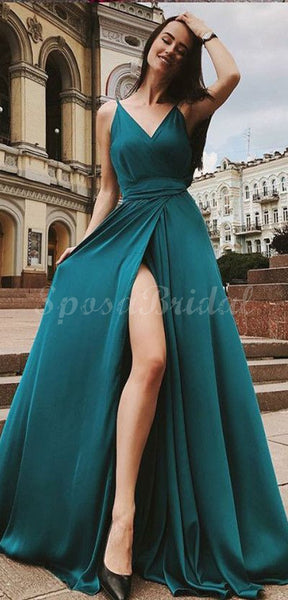 Cheap Red Simple Spaghetti Straps Side Slit Long Prom Dresses PD1424