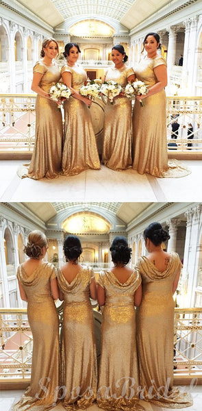 Cheap Sequin Sparkly Champagne  Long Elegant Best Sale Bridesmaid Dresses WG584