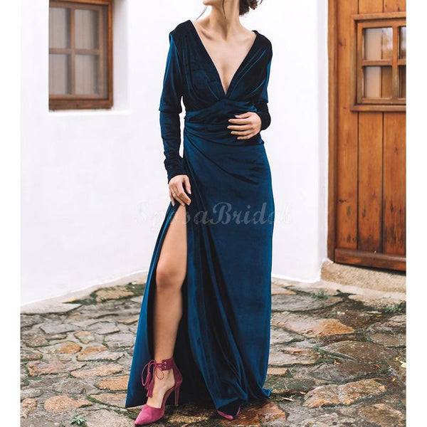 Cheap Simple Elegant Long Sleeves Velvet Soft Side Slit Long Prom Dresses PD1425