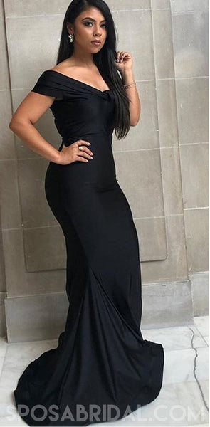 Cheap Simple Hot Prom Dresses, Off Shoulder Long Mermaid Black Bridesmaid Dresses, PD1158
