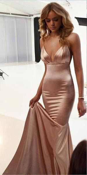 Cheap Spaghetti Straps Mermaid Simple Modest Sexy Prom Dresses, Evening dresses,PD1031