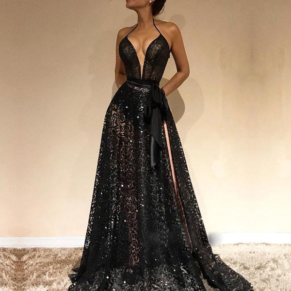 Cheap Spaghetti Straps Sexy Black V-Neck Evening Gowns, 2019 New Lace Prom  Dress