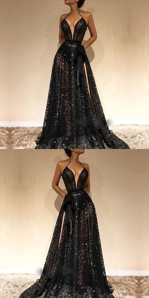 Cheap Spaghetti Straps Sexy Black V-Neck Evening Gowns,  2019 New Lace Prom Dress With Slit, PD0580 - SposaBridal