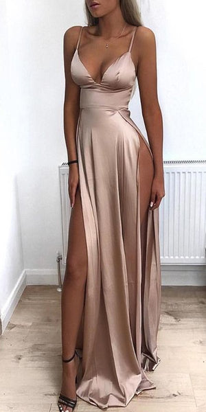 Cheap Spaghetti Straps Side Split Simple Modest Sexy Prom Dresses, Evening dresses,PD1032