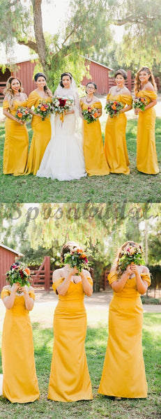 Cheap Yellow Pleating Off Shoulder Sheath Simple Elegant Long Bridesmaid Dresses WG587