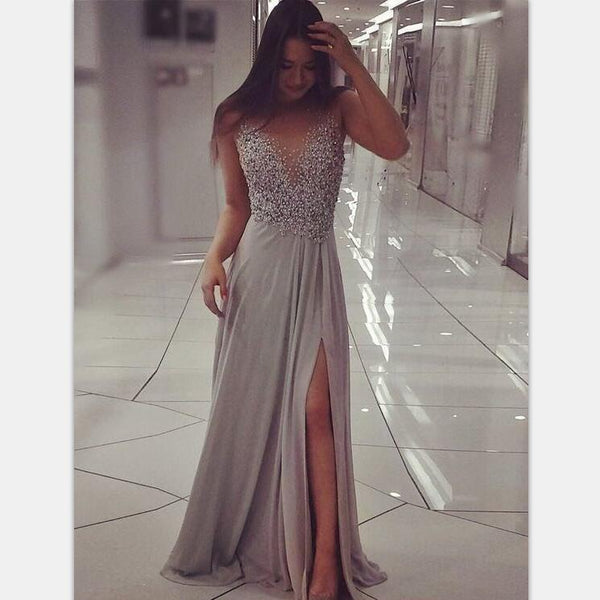 2019 Sparkly Beaded Chic A Line Prom Dress Modest Cheap Long Silver Grey Prom Dresses, PD0819 - SposaBridal