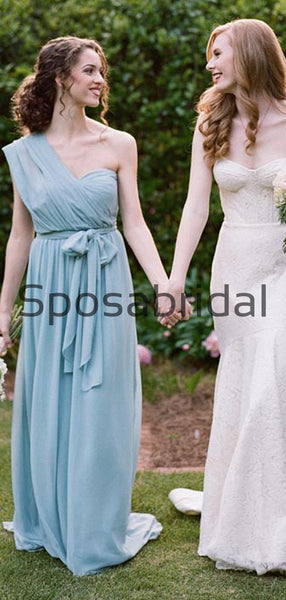 Chiffon Dusty Blue Convertible Simple Beach Long Bridesmaid Dresses WG839