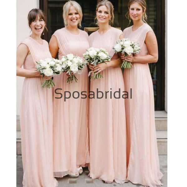 Chiffon Pink Cheap Unique Round Neck Long Bridesmaid Dresses WG853