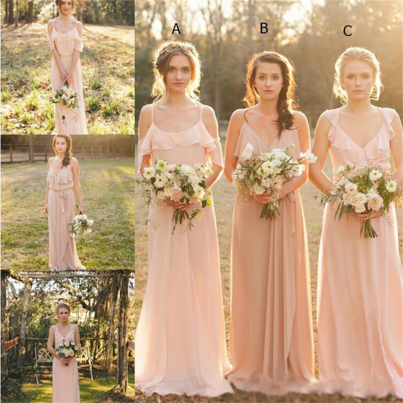 Chiffon Cheap Bridesmaid Dresses, Pink Lovely Popular Fashion New Unique Bridesmaid Dress, PD0425