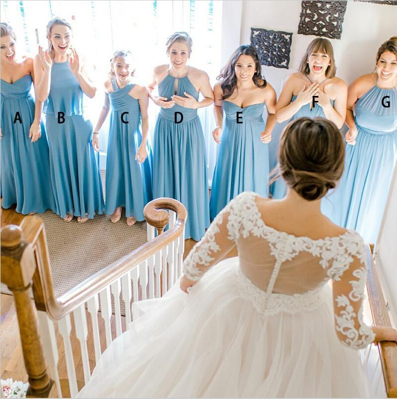 Chiffon Cheap  Modest Mismatched Long Pale Blue Custom Hot Sale High Quality Bridesmaid Dresses, WG272
