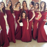 Off Shoulder Burgundy Side Slit Mermaid Elegant New Arrival Bridesmaid Dresses , PD219