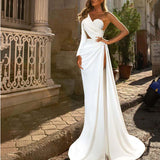 Spaghetti Straps Lace V-Neck Backless Mermaid Modest Prom Dresses PD2240