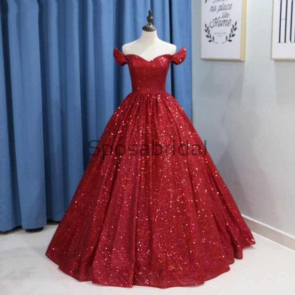 Custom A-line Sparkly Red Sequin Elegant Formal Modest Prom Dresses, Ball Gwon PD1868