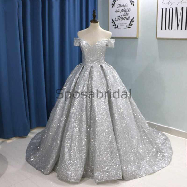 Custom A-line Sparkly Sequin Silver Elegant Formal Modest Prom Dresses, Ball Gwon PD1870