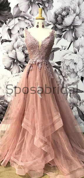 Custom A-line V-Neck Unique Lace Elegant Formal Modest Prom Dresses, Ball Gwon PD1872
