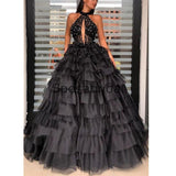 Custom Black A-line High Neck Elegant Formal Modest Prom Dresses, Ball Gwon PD1873
