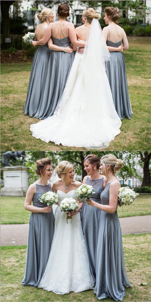 Custom Cheap Bridesmaid dress, Lace Top Modest Grey Chiffon Bridesmaid Dresses, WG273