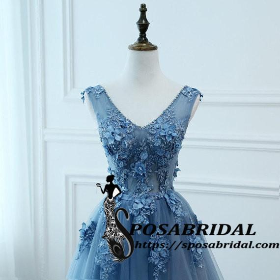 Sexy V-neck Low Back Women Formal Evening Prom Party Dresses Long Lace Flowers Bridesmaid Dresses ,WG321