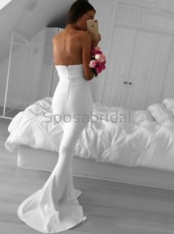 Custom Mermaid Strapless Simple Fashion Sweep Train Prom Dresses PD1000 PD1450