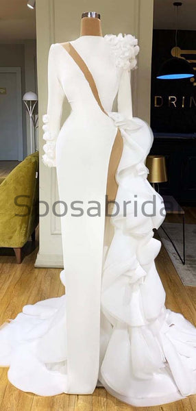 Custom Mermaid Long Sleeves Side Slit Satin Sexy Unique Modest Prom Dresses PD1934