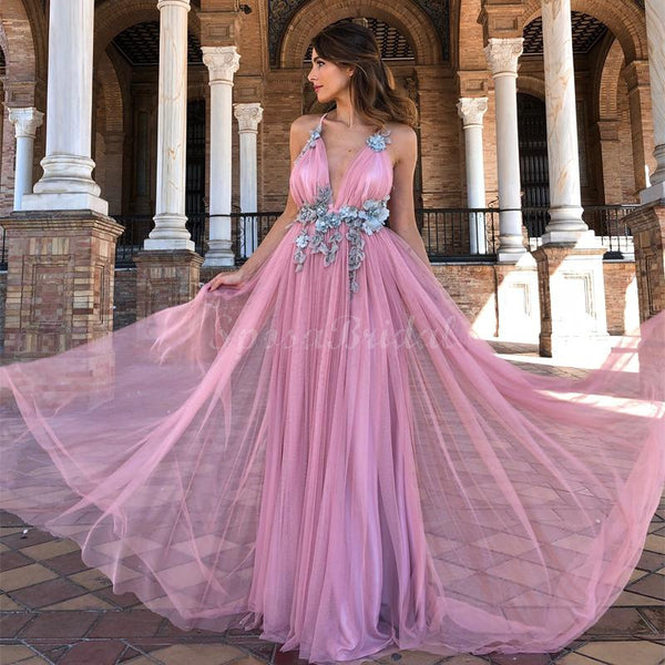 Custom Pink Elegant Pretty Unique Modest Long Prom Dresses, party dresses,PD1428