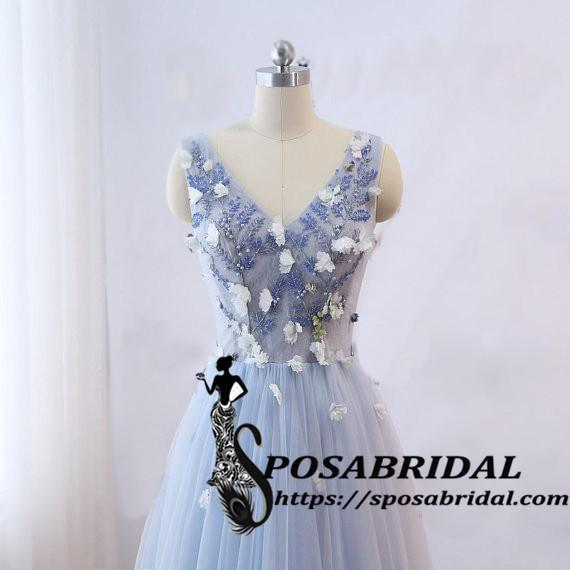 Long Blue Tulle Custom Bridesmaid Dresses, V-Neck Sleeveless Prom Dresses ,WG323