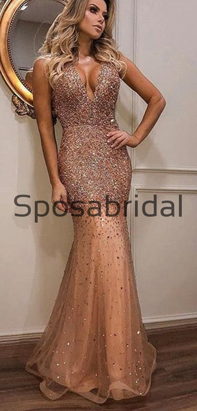 Custom Sparkly V-Neck Strapless Gorgeous Hot Sale Long Mermaid Prom Dresses, Ball Gwon PD1876