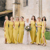 Custom Yellow Sheath Side Slit Elegant Unique Design Long Fall Bridesmaid Dresses WG570
