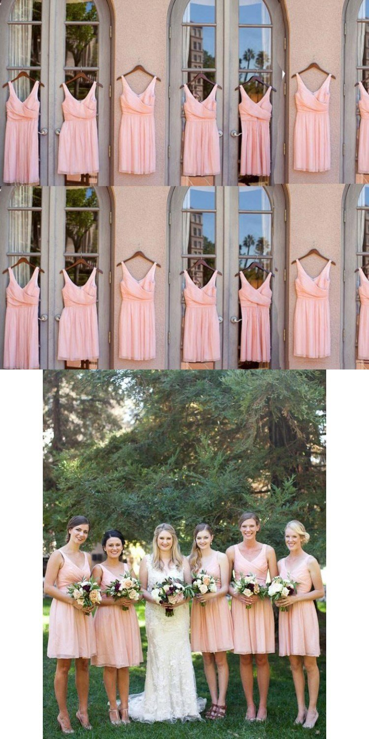 Cute Pink V-neck Charming Short Ruffles Classical Cheap Simple Bridesmaid Dresses ,WG356