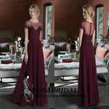 Dark Burgundy Long Short Sleeves Beading Cheap Popular Bridesmaid Dresses, WG304