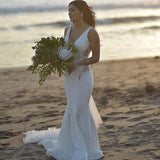 Deep V-Neck Sweep Train Mermaid Beach Long Sexy Popular Wedding Dresses with Lace, WD0205