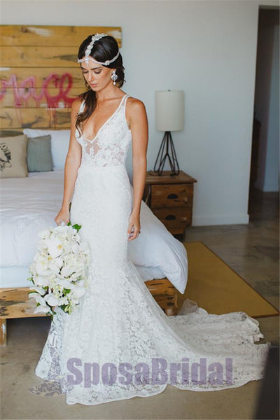 Full Lace V Neck Most Popular Elegant Romantic Custom Wedding Dresses, beach wedding dresses,  PD0560