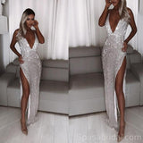 Deep V Neck Side Slit Sequin Mermaid Charming Sparkly Silver Modest Fashion Long Prom Dresses, PD1369