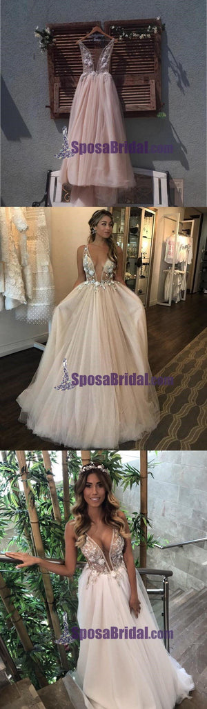 Deep V Neck Puffy Tulle Wedding Dress, 3D Floral Appliques Sheer Bodice Long Charming Prom Dresses, PD0734