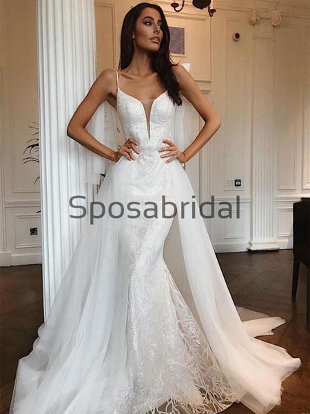 Detachable Unique Vintage Beach Elegant Wedding Dresses WD0457