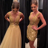 Detachable Gold Mermaid Lace Unique Modest High Quality Prom Dresses, Prom dress PD1879
