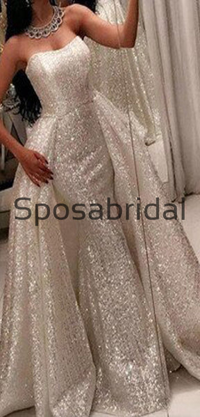 Detachable Ivory Sequin Gorgeous Shining Vintage Modest Prom Dresses, Wedding Dress, Ball Gown PD1880