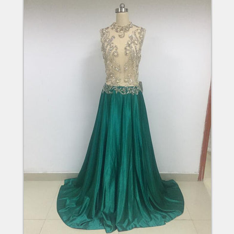 Discount Cheap Short in Size In Stock A-line See-through Long Prom Dresses Online,DD010
