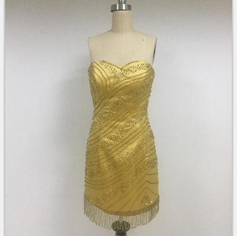 Discount Cheap Short in Size In Stock Sweetheart Gold Short Prom Dresses Online,DD009