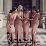 Dusty Pink Long Mermaid Split Simple Unique Design Mermaid Modest Hot Bridesmaid Dresses,WG334